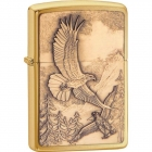 Zippo Lighter Where Eagles Dare Emblem, Brushed Brass