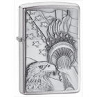 Zippo Lightrer Something Patriotic Emblem, Brushed Chrome