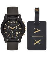 Armani Exchange - A¦X Men´s Chronograph Outerbanks Black Silicone Strap Watch 45mm Gift Set