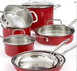 Chef's Classic Stainless Steel Metallic Red 11 Piece Cookware Set
