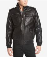 Levi´s Men´s Faux-Leather Aviator Bomber Jacket with Fleece Lining