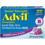 Advil Junior Strength Fever Reducer / Pain Reliever Chewable Tablets, 100mg Ibuprofen (Grape Flavor, 24 Count)