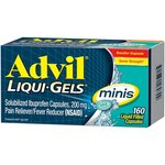 Advil Liqui-Gels minis (160 Count) Pain Reliever / Fever Reducer Liquid Filled Capsule, 200mg Ibuprofen, Easy to Swallow, Temporary Pain Relief