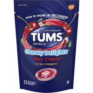 Tums antacid, chewy delights very cherry ultra strength soft chews for heartburn relief, 32 antacid