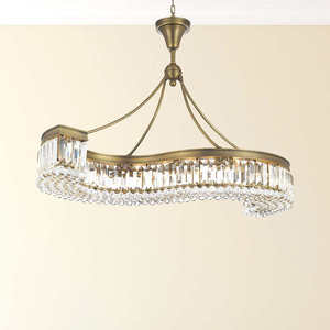 "Lighting by Pecaso Athens Golden Bronze S-Shaped Chandelier with Heirloom Grandcut Crystal - 48"" Athens S-Shaped Chandelier"