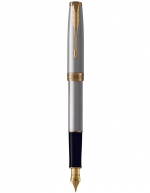 Parker Sonnet Stainless Steel Gold Trim Fountain Pen