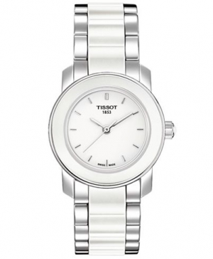 Tissot Women´s Swiss Cera Stainless Steel and White Ceramic Bracelet Watch 28mm T0642102201100