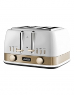 Sunbeam - New York Collection 4 Slice Toaster White/Bronze TA4440WG