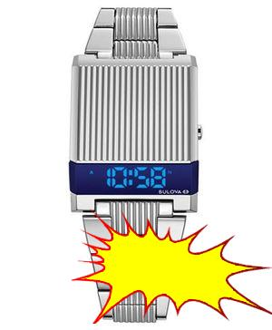 Bulova LIMITED EDITION Men's  Digital LED Computron Stainless Steel Bracelet Watch 31.1x40.3mm